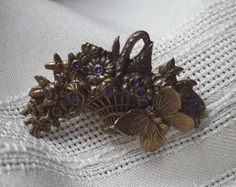 Basket of purple flowers, vintage brooch, brooch.