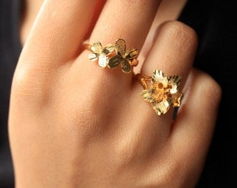 SALE!SALE!24k Gold Plated Butterfly Ring/Gold Plated Ring/Adjustable Gold Plated Ring/Butterfly Gold Ring/Gift For Her/Butterfly Gold Plated