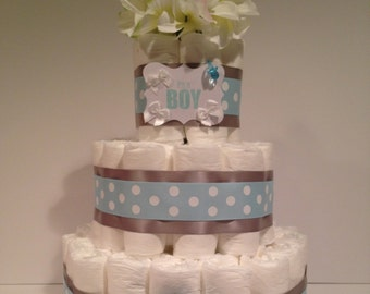 It's a Boy Diaper Cake, Baby Shower Centerpiece, Boy Diaper Cake