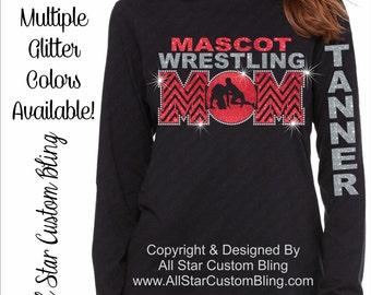 Wrestling Mom Chevron Glitter and Bling Rhinestone Long Sleeve Shirt, Wrestling Mom Shirts, Bling Wrestling Mom Shirts, Wrestling Mom Hoodie