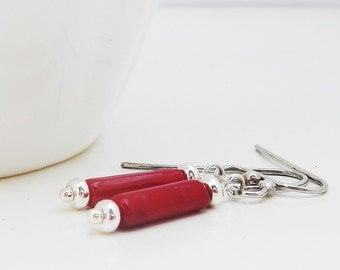 Small Red Coral Earrings, Sterling Silver and Coral Jewelry, Delicate Contemporary Everyday Earrings