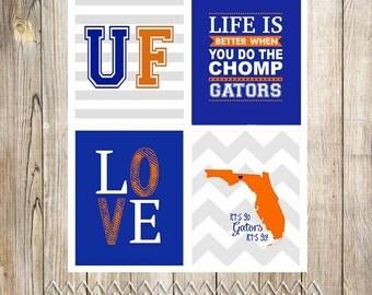 Set of 4 Printable Collegiate Art Prints (Florida Gators or pick your own team)