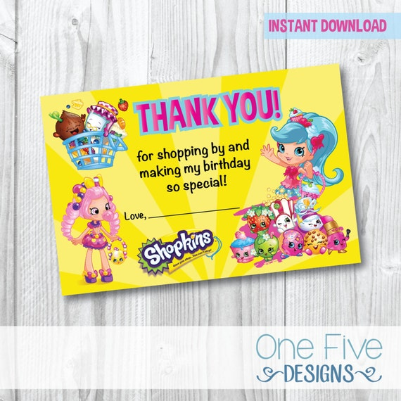 Shopkins Thank You Card - INSTANT DOWNLOAD - Printable (4x6) by One ...