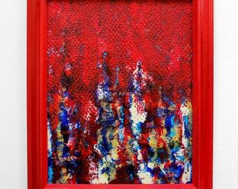 Patriotic Melt Original Abstract Art Canvas. Original Painting, Modern Art, Fine Art, Framed Art, Red Art, Knife Painting,