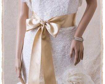 """3"""" Deluxe Champagne Bridal Sash, Champagne Wedding Sash, Satin Ribbon Bridal Belt, Bridal Sash, Satin Bridal Sash"""