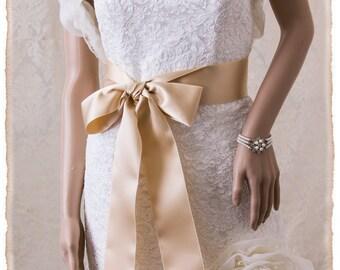 "2.5"" Deluxe Swiss Champagne Bridal Sash,Champagne Wedding Sash,Champagne Grosgrain Ribbon Bridal Belt Wedding Sash Grosgrain Bridal Sash"