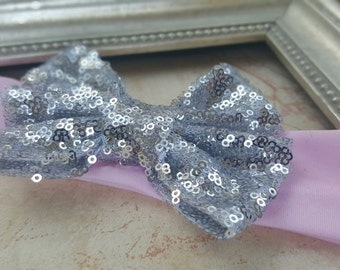 Pink and Silver Sparkly Bow Headband, Pink Headband,  Silver Headband, Silver Sequin Bow Headband, Sparkly Headband, Girls Headband