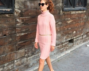 Pink Sweater Dress / Small Sweaterdress/ Long Sleeve Turtleneck Dress S Vintage