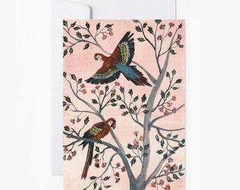 Postcard, Parrots, Flowers, Stationery, vintage style, Carte postale,enveloppe, papeterie, perroquets, papergoods, livraison gratuite france