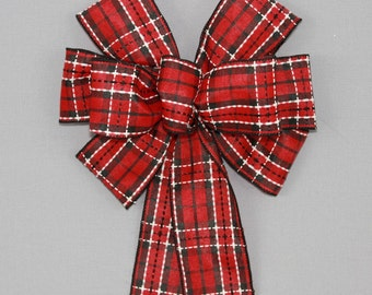 Red Black Dash Stitched Plaid Christmas Wreath Bow  - Buffalo Plaid Christmas Bow, Christmas Tree Bow