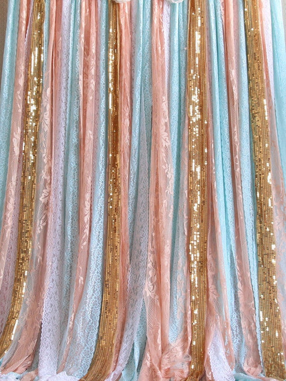 Pink Blue Lace Fabric Rose Gold Sparkle Sequin Fabric Wedding