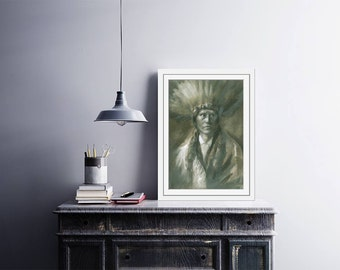 "Art prints of watercolor painting ""Indian Ahawi - Deer"" - American Indian painting - watercolor indian - American Indian art"