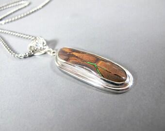 Boulder Opal Necklace - Opal Pendant, Sterling Silver, Bezel Setting, Opal Jewelry, Handmade, Mens, Womans, Boulder Opal Jewelry, Fire
