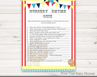 Baby Shower Games - Nursery Rhyme Quiz Game - Circus Baby Shower - Circus Shower Games - Nursery Rhyme Game - Circus