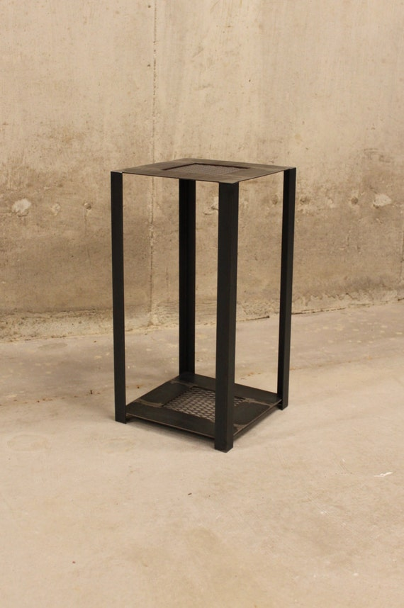 End Table Industrial Style With Mesh Steel Inlays