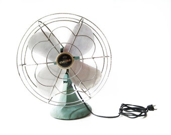 Vintage Aqua Turquoise McGraw Electric Eskimo Single Speed Working Metal Electric Fan Model 1005R