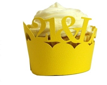 Yellow 21-&-Legalized Cupcake Wrappers, Set of 12