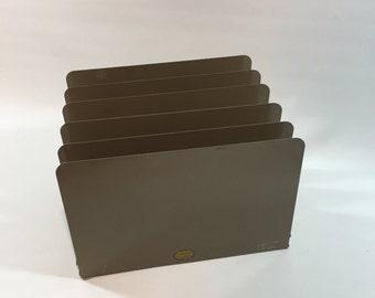 Vintage Brown Metal Vertical File Organizer, Curmanco