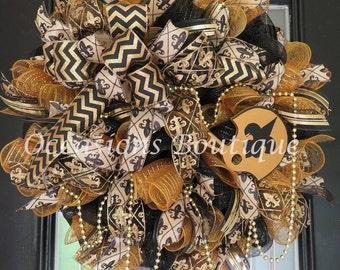 New Orleans Saints Wreath, Football Wreaths, Double Door wreaths, Outdoor Wreath, Fall Wreath, Door Hanger, Saints Football