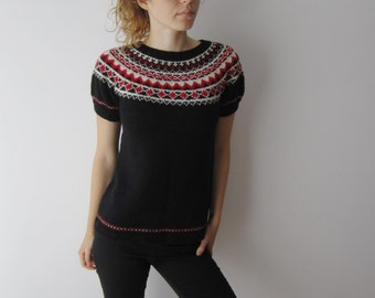 Women's Knitted Sweater Short Sleeve Sweater Extra Small to Small Size Sweater Wool Knitted Top Black Red  White Patterned Sweater
