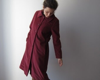 Vintage Lorendale by Bromleigh Coat 60s 70s Button Up Marsala Long Jacket Size Small