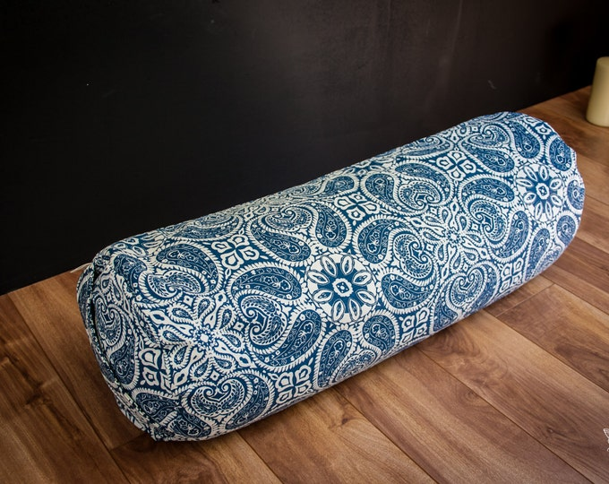 Yoga buckwheat Bolster Blue Mandala body pillow restorative practice yin by Creations Mariposa TY-MB