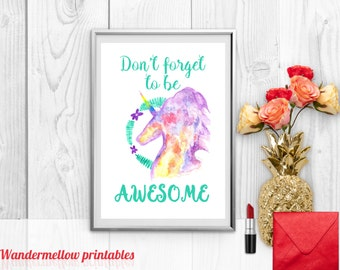 Don't Forget to be awesome Mint, Printable Art for Home Decor, unicorn, Unicorn art , Instant download, Home decor