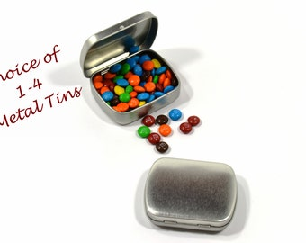Small Metal Tins with Hinged Lid and Rounded Corners-Small Storage-Food Storage-Craft Storage-Party Favor