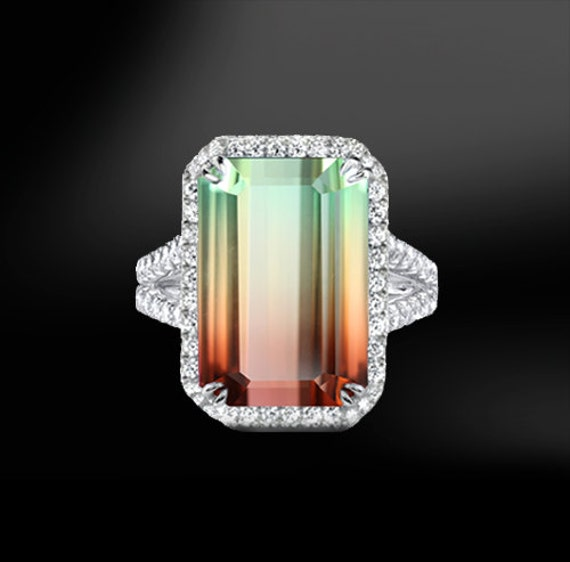 Watermelon Tourmaline Amp Diamond Ring