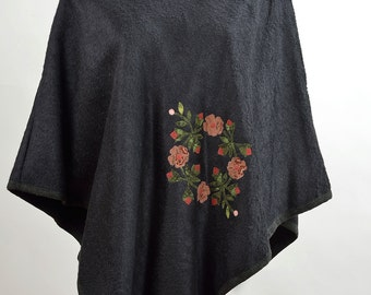 Poncho wool cashmere Patchwork appliquè cotton