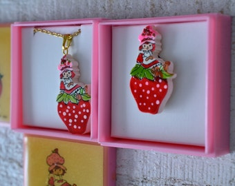 NOS Vtg Strawberry Shortcake Jewelry Your Choice Pendant Necklace or Pin Sitting on Strawberry Kawaii Jewelry 1980s 80s Cartoon Girls Toys