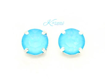 ULTRA TURQUOISE AB 47ss 10mm Crystal Chaton Stud or Post Earrings *Pick Your Finish *Karnas Design Studio *Free Shipping
