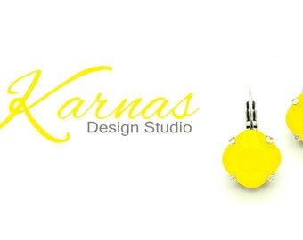 YELLOW OPAL 12mm Stud or Drop Earrings Cushion Cut Swarovski Crystal  *Pick Your Finish *Karnas Design Studio *Free Shipping