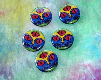 Pinback Button, 1 1/4 (1.25) inch, Colorful Psychedelic Blue, Green, Yellow Cat Face with Magenta Third Eye, Long Lasting, Art Button