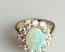 Gold Opal Engagement Ring, Diamond and Opal Ring, Diamond Halo