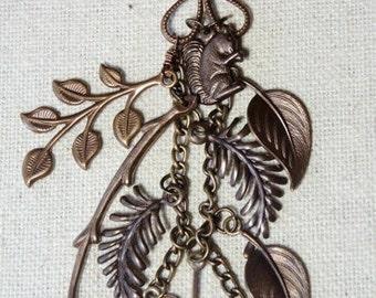 "BOTANICAL Double Strand  Necklace ""<>21"" Adjustable piece Brass/turquoise Czech Boho Artisan Jewelry Boutique of Blue Ridge"