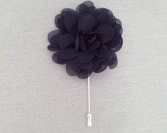Wedding Boutonniere Navy Blue Fabric Flower Boutineer Chiffon Lapel Pin Men's Wedding Groom Groomsmen Stick Pin Buttonhole Corsage Pin