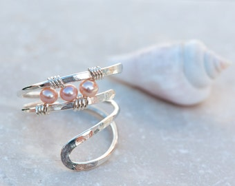 Adjustable, Petite Pink Pearl Ring, Wire Wrapped Thumb Ring, Hammered Sterling Silver Ring, Middle Finger Ring, Pink Knuckle to Knuckle Ring