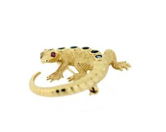 14K Gold Lizard Brooch