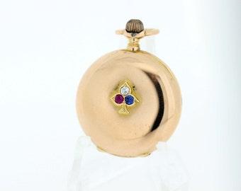 18K Gold Pocket Watch with Gemstone Club