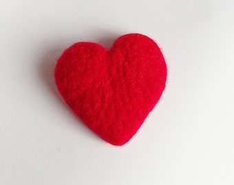 Soft Merino Wool Hand Felted Red Heart Merino Wool Pin Brooch Christmas Valentines Mother Day Present Gift