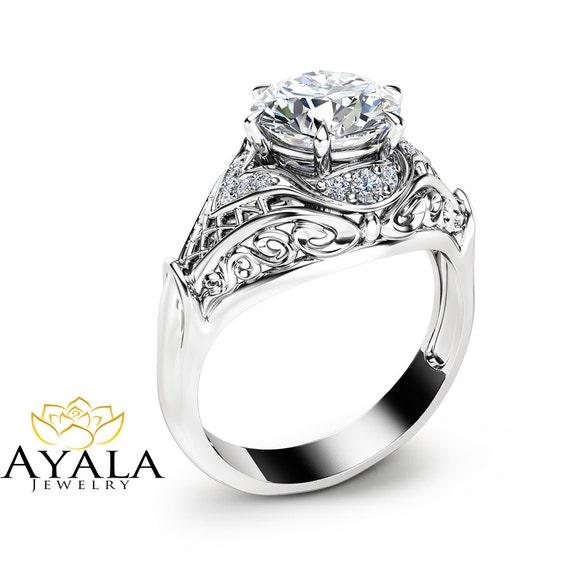 Moissanite Engagement Ring Moissanite Halo Ring in 14K White