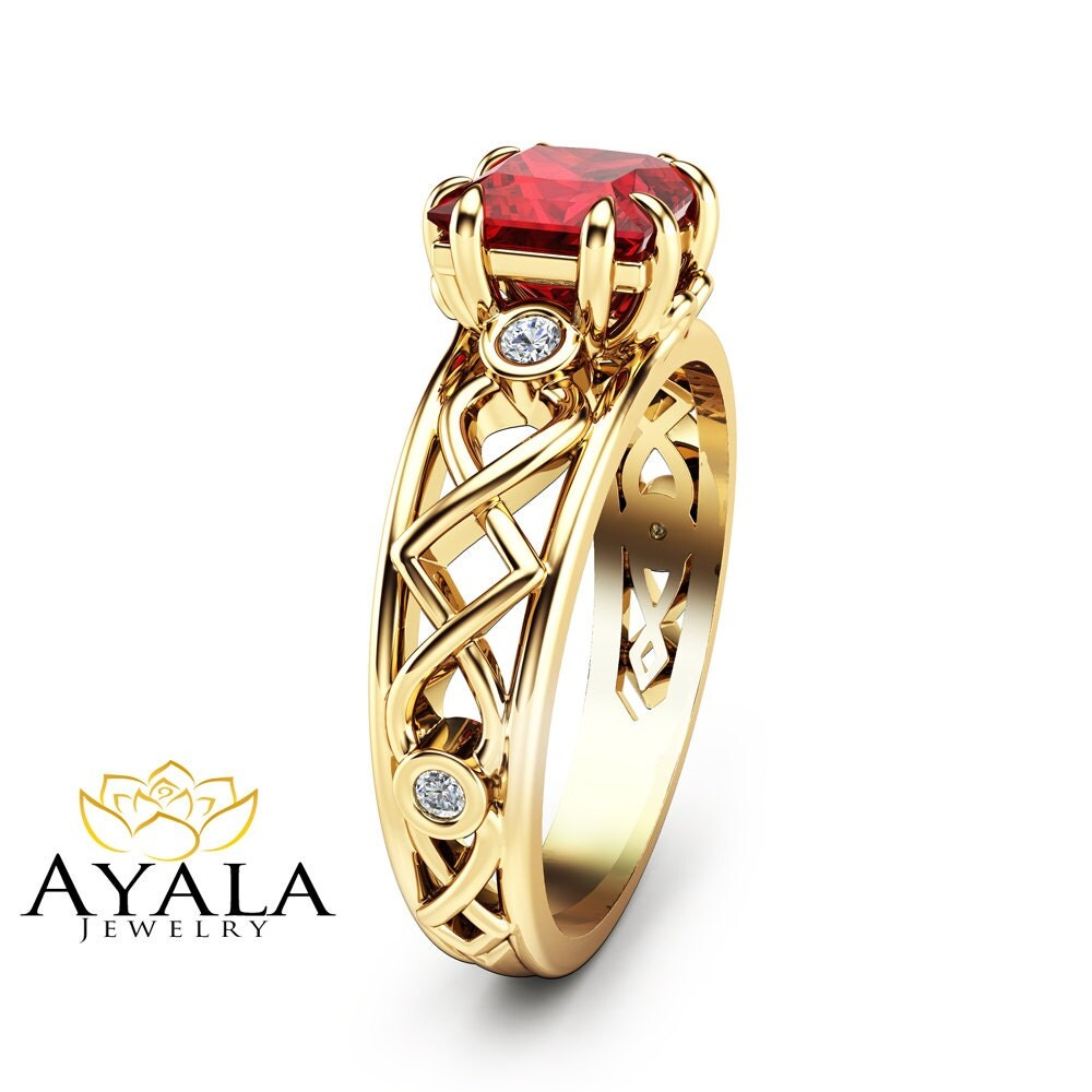 princess cut ruby ring in 14k yellow gold ruby by