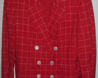 Blazer 14, Vintage Red Window Pane Blazer Jacket by J H Collectibles STUNNING ! Size 14