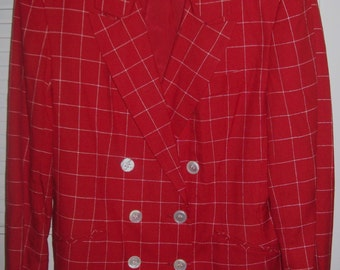 Vintage Red Window Pane Blazer Jacket by J H Collectibles STUNNING ! Size 14