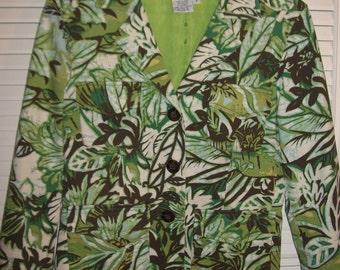 Maggy London Vintage Rain Forest Cotton Stunning Jacket Size 4