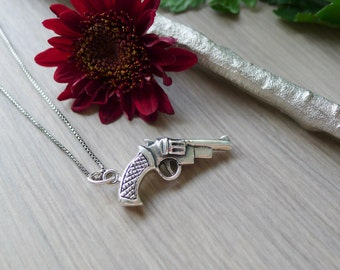Gun Necklace, Sterling Silver, Pistol Necklace, Colt Necklace, Hand Gun, Sterling Silver Gun, Silver Gun, Sterling Gun, Revolver Necklace