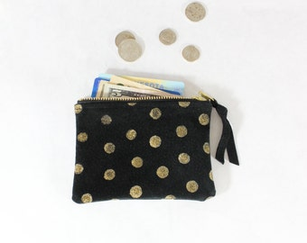 Gold Glitter Dot Black Suede Zip Pouch / Mini Wallet / Coin Purse