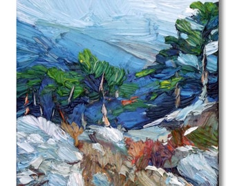 Small landscape oil painting - trees painting on stretched canvas, contemporary art