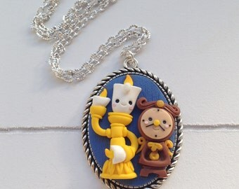 LUMIERE and Cogsworth, beauty and the beast, Cameo Necklace